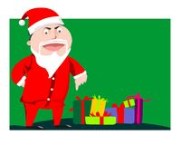 Santa Claus with christmas gifts. Santa claus pointing on christmas gifts royalty free illustration