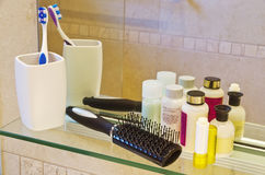 Personal care products at a bath room Royalty Free Stock Image