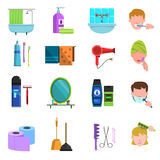 Personal care products flat icons set Royalty Free Stock Photography