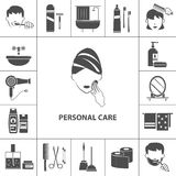 Personal care products icons composition poster Royalty Free Stock Photos