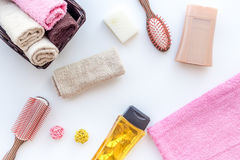 Personal care. Towels, soap and shampoo, cobs on white backgrond top view.  Royalty Free Stock Photography