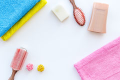 Personal care. Towels, soap and shampoo, cobs on white backgrond top view copyspace Royalty Free Stock Photos