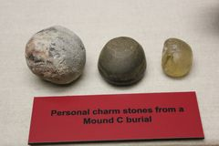 Personal Charm Stones found at Mound C, Etowah mound. Etowah Indian Mounds are prehistoric archaeological site located on the bank of Etowah river in the royalty free stock image