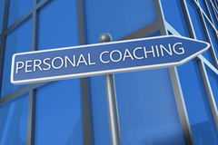 Personal Coaching. Illustration with street sign in front of office building Stock Images