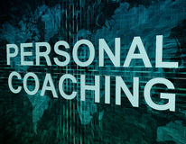 Personal Coaching. Text concept on green digital world map background Stock Photo