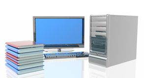 Personal Computer. With screen and stack of books Royalty Free Stock Image