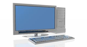 Personal Computer. With screen and stack of books Royalty Free Stock Images