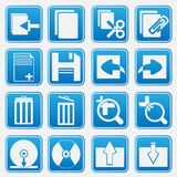 Personal Computer Blue Icon Set Stock Photos