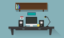 Personal Computer Desk. Personal computer flat design work desk Royalty Free Stock Photography