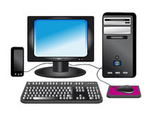 Personal computer - desktop. Black personal computer isolated on white background Stock Image