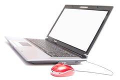 Personal computer en rode muis Royalty-vrije Stock Afbeeldingen