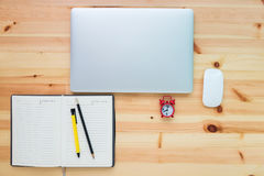 Personal computer and equipment on table wooden top view, Comput Stock Photos