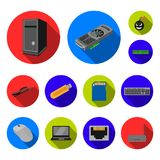 Personal computer flat icons in set collection for design. Equipment and accessories vector symbol stock web Royalty Free Stock Images
