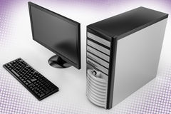 Personal Computer In Halftone Background Stock Image