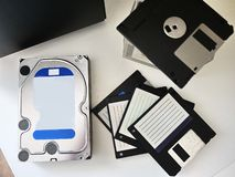 Personal computer hard drive for storing media and other data.  Details and royalty free stock photo