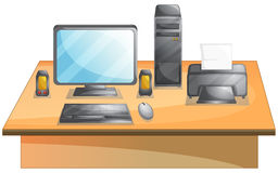 Personal computer. Illustration of a set of personal computer on a desk Royalty Free Stock Images