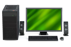Personal computer with loudspeakers Stock Photo