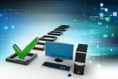 Personal-Computer mit einem Häkchen Lizenzfreies Stockfoto
