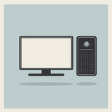 Personal Computer and Monitor Vector Royalty Free Stock Images