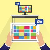 Personal Computer PC and tablet cloud synchronization. Vector illustration. Wireless file transfer network technology creative concept. Remote internet storage Royalty Free Stock Images