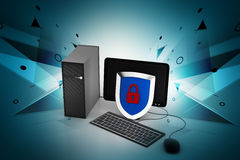 Personal computer with security system Stock Photos
