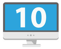 Personal computer shows number 10 on blue screen. Isolated white Royalty Free Stock Photo