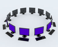 Personal computers around the ... Stock Image