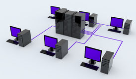 Personal computers and server Royalty Free Stock Image