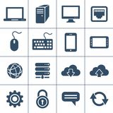 Personal computing devices. Personal computers and network devices icons. Vector icon glyphs Royalty Free Stock Images