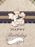 Personal creation, happy birthday. Personal creation (flowers and decoration) with drawings, flower abstract, and other decorations. several flowers pattern, and Royalty Free Stock Image