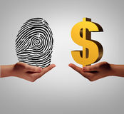 Personal Data Business. Personal data brokering business concept and buying and selling personal information as a hand holding a finger print and another person Stock Photography