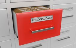 Personal data protection concept. Cabinet full of files and folders. 3D rendered illustration.  Royalty Free Stock Image