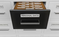 Personal data protection concept. Cabinet full of files and folders. 3D rendered illustration.  Stock Images
