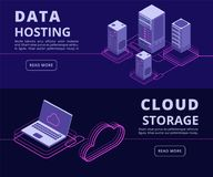 Personal data protection, hosting solutions, computer synchronization, data networking vector banners set with isometric vector illustration