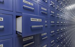 Personal data protection and privacy concept. A lot of cabinets with documents and files. 3D rendered illustration.  Stock Image