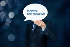 Personal data protection concept. Personal data protection, sensitive personal data protection and GDPR concepts. Business person with speech bubble hiding head royalty free stock photography