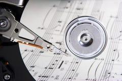 Personal de la música reflejado en disco duro Fotografía de archivo libre de regalías