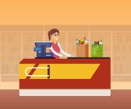 Personal del cajero de la muchacha detrás del contador de la caja registradora stock de ilustración