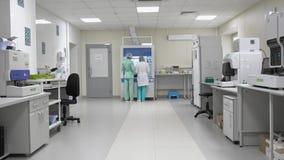 Personal del laboratorio en el trabajo, exámenes médicos, equipo clínico de la instalación de diagnóstico almacen de metraje de vídeo