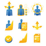 Set of personal development icons focus on results stock illustration