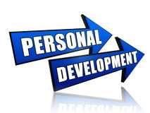 Personal development in arrows. Text personal development in 3d blue arrows Stock Photos