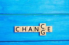 Personal development and career growth or change yourself concept. concept of motivation, goal achievement, potential, incentive. Wooden cube with word `change` stock image