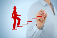 Personal development career. Personal development, personal and career growth. Coach (human resources officer, supervisor) help female employee with his growth Royalty Free Stock Image