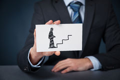Personal development and career. Personal development (personal growth), success, progress, potential and career concepts. Male coach (human resources officer Royalty Free Stock Images