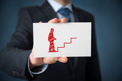 Personal development and career. Personal development (personal growth), success, progress, potential and career concepts. Male coach (human resources officer Stock Photos