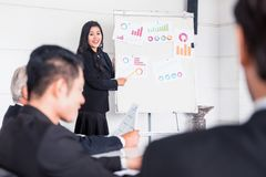 Personal development, coaching and training course for Business teamwork. Meeting and discussing with colleagues in conference room royalty free stock images