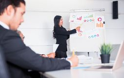 Personal development, coaching and training course for Business teamwork. Meeting and discussing with colleagues in conference room royalty free stock photo