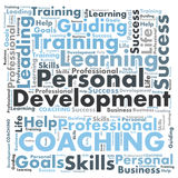Personal development. And coaching word cloud Royalty Free Stock Photos