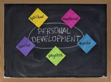 Personal development concept on blackboard. 5 dimensions of personal development: spiritual, emotional, mental, physical, social -  concept on blackboard Royalty Free Stock Photos