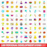 100 personal development icons set, cartoon style Stock Photography
